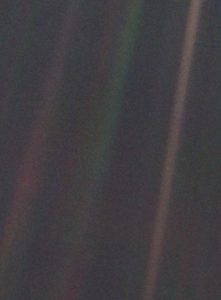 """There is perhaps no better demonstration of the folly of human conceits than this distant image of our tiny world. To me, it underscores our responsibility to deal more kindly with one another, and to preserve and cherish the pale blue dot, the only home we've ever known."""